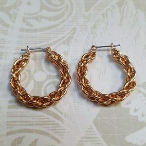 Vintage Goldtone Rope twist pierced Earrings